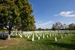 washington dc - oct 12: rows and columns of us soldier's tombstones at arling - stock photo