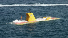 Yellow Submarine goes diving Stock Footage