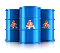 Blue biofuel barrels Stock Illustration