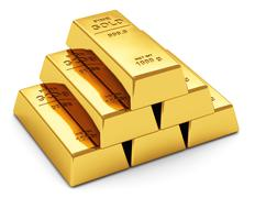 Gold ingots - stock illustration