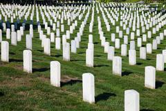 Rows and columns of us soldier's tombstones Stock Photos