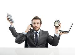 businessman multitasking - stock photo