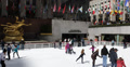 Ultra HD 4K Rockefeller Center Ice Rink NYC Flags Skaters Enjoy Square Winter US Footage