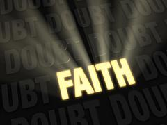 Faith outshines doubt Stock Illustration