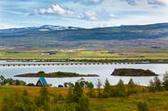 Stock Photo of icelandic landscape: view of fellabaer village (egilsstadir)