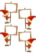 Cartoon Red Elf - stock illustration