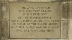 """""""In perpetuity"""" maker stone, Tyne Cot Cemetery, Zonnebeke, Belgium Stock Footage"""