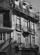 Old windows and shadows, Baixa, Lisbon - stock photo
