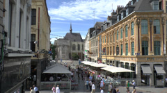 Cafes just off Grand Place, Lille, France Stock Footage