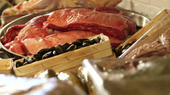 Meat and seafood products in kitchen Stock Footage