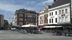 Cafes in the Grote Markt, Kortrijk, Belgium. Stock Footage