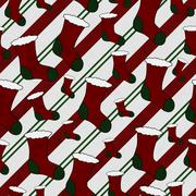 red and green christmas stocking textured fabric background - stock illustration