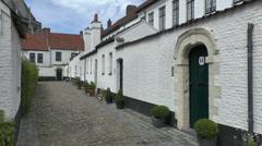 The Kortrijk Begijnhof (beguinage), Kortrijk, Belgium. Stock Footage