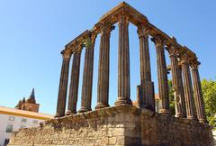 Roman temple, evora, portugal Stock Photos