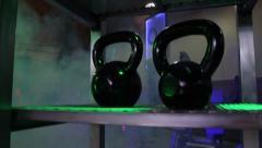 Gym Equipment in Fog Kettlebell Rack - stock footage
