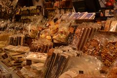 Sweets and chocolates on the market Stock Photos