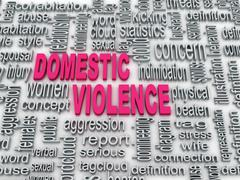 3d concept diagram wordcloud illustration of domestic violence - stock illustration