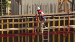 Building site workers 1 Stock Footage