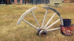 Old, Broken Wagon Wheel Stock Footage
