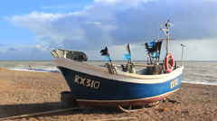 Boat on Sea Shore at Hastings in United Kingdom Stock Footage