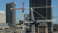 Stock Video Footage of Condo construction in Toronto.  Real time.