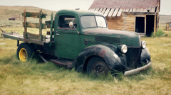 Abandoned Antique Pickup Truck in Ghost Town of Bodie, California Stock Footage