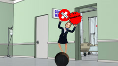 Woman Over The Health Care Barrel (Looping) Stock Footage