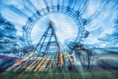 Prater attraction in motions blur Stock Photos