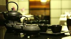 Tea-set in restaurant Stock Footage