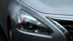 Waxed Car in the rain Stock Footage