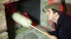 Chimney clean sweep sweeper Stock Footage