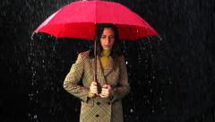 Woman Upset With Rain Umbrella bad weather concept Stock Footage