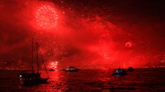 Fireworks set the sea of Bosphorus on fire Stock Footage