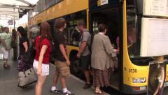 People boarding the bus in Berlin. City life scene.Stedicam shot. Stock Footage