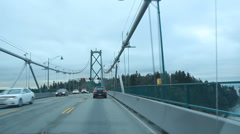 Driving on the Lions Gate bridge. Stock Footage