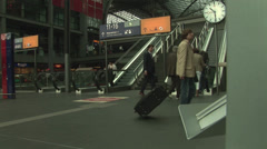 Passengers at Hauptbahnhof Central train Station in Berlin, Germany. 1 Stock Footage