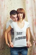Newlyweds hugging Stock Photos