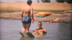 Family Water Skiing On Lake-1961 Vintage 8mm film Stock Footage