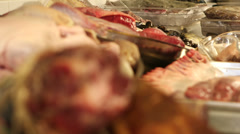 Meat products in kitchen Stock Footage