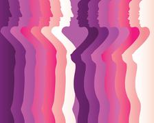 Silhouettes of men and women Stock Illustration