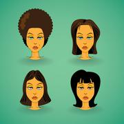 women model hairstyle - stock illustration