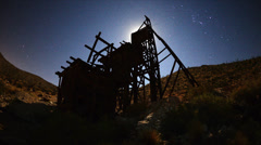 Stock Video Footage of Time Lapse of Abandon Gold Mine at Night