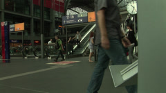 Passengers at Hauptbahnhof Central train Station in Berlin, Germany. 2 Stock Footage