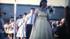 High School Graduation Processional-1961 Vintage 8mm film Stock Footage