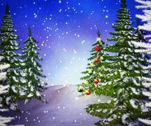 Pines winter backdrop Stock Illustration
