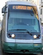 Modern trams in the city of rome flaminio station catch one of the busiest ra Stock Photos