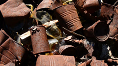 Pan of Rusting Tin Cans in a Mojave Desert - stock footage