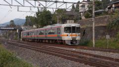 JR Train Departs Nagiso Station Stock Footage