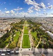 Aerial view on Champ de Mars from the Eiffel tower, Paris, France - stock photo