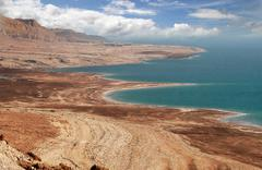 Dead sea coastline in arava desert. Stock Photos